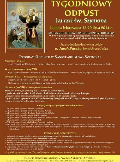 Lipiec – miesiącem św. Szymona z Lipnicy