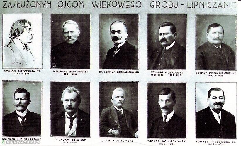 Tableau ojców miasta Lipnica Murowna z lat 1867 - 1935