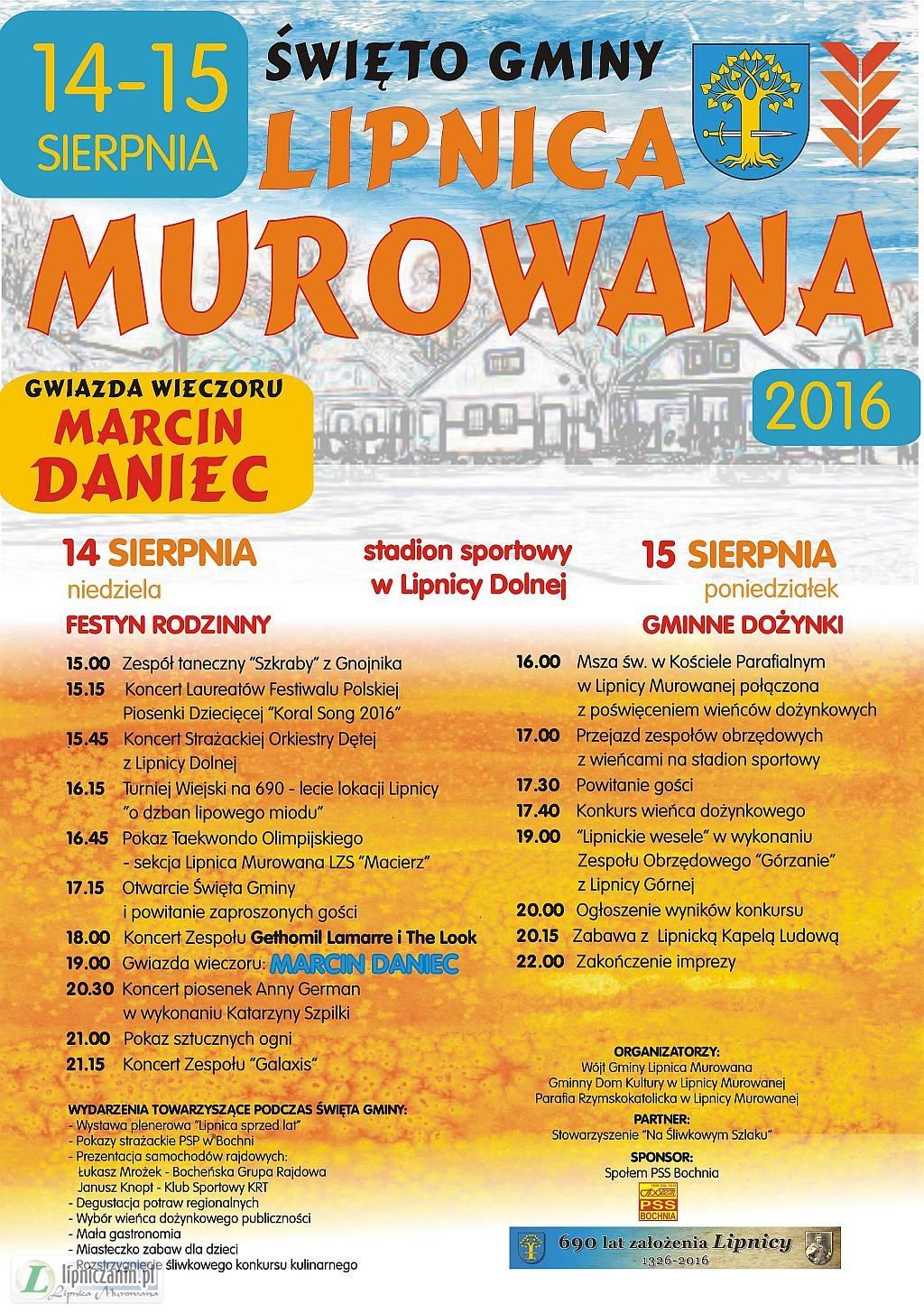 14-15 sierpnia (niedziela-poniedziałek) Święto Gminy Lipnica Murowana