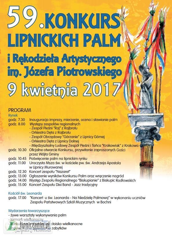 PROGRAM 59 Konkursu Lipnickich Palm Wielkanocnych 2017 czyli Niedziela Palmowa w Lipnicy Murowanej